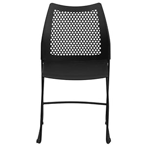 Flash Furniture HERCULES Series 661 lb. Capacity Black Stack Chair with Air-Vent Back and Black Powder Coated Sled Base