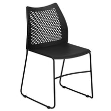 Load image into Gallery viewer, Flash Furniture HERCULES Series 661 lb. Capacity Black Stack Chair with Air-Vent Back and Black Powder Coated Sled Base