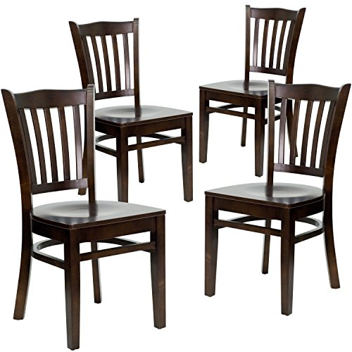 Flash Furniture 4 Pk. HERCULES Series Vertical Slat Back Walnut Wood Restaurant Chair