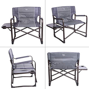 "Timber Ridge XXL Large Directors Chair 28"" Wide Heavy Duty Folding Camping Chair for Full Padded with Side Table, Supports 600lbs"