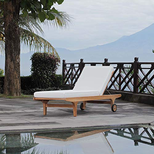 Modway Saratoga Premium Grade A Teak Wood Outdoor Patio Poolside Deck Chaise Lounge Chair with Cushions in Natural White