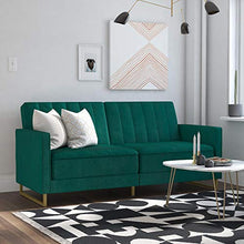 Load image into Gallery viewer, Novogratz Skylar Coil, Modern Sofa Bed and Couch, Green Velvet Futon