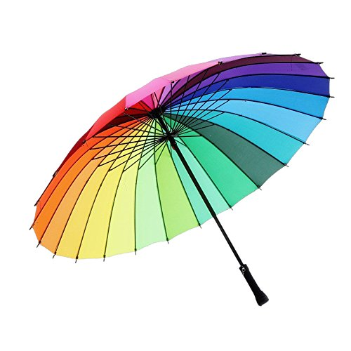 meizhouer 24k Color Rainbow Umbrella Fashion Long Handle Straight Anti-UV Sun/Rain Stick Umbrella Manual Big Parasol