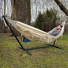 Load image into Gallery viewer, Vivere Double Hammock with Space Saving Steel Stand, Natural (450 lb Capacity - Premium Carry Bag Included)