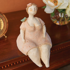 ART & ARTIFACT Bird Lady Shelf Sitter Sculpture - Kitschy Woman Figurine