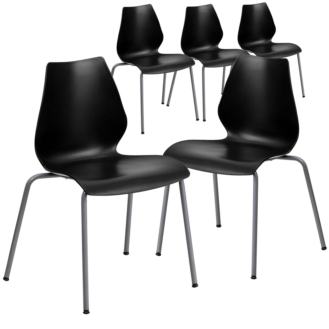 Flash Furniture 5 Pk. HERCULES Series 770 lb. Capacity Black Stack Chair with Lumbar Support and Silver Frame