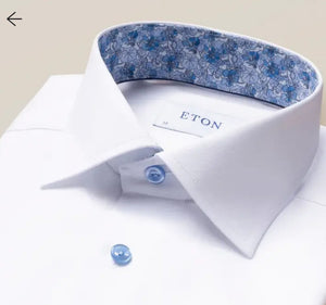 Eton- White Signature Twill With Floral Trim and Lt Blue buttons