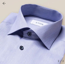 Load image into Gallery viewer, Pastel Navy Dress Shirt- with Navy Contrast Buttons