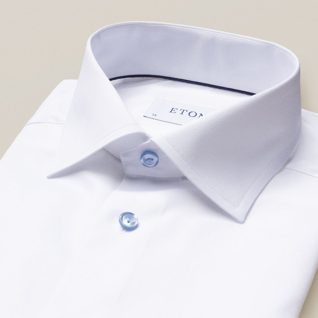 Eton- Fine twill, white dress shirt with light blue buttons