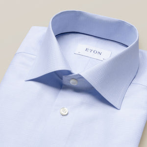 Eton- Blue micro weave twill dress shirt