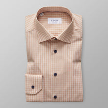 Load image into Gallery viewer, Eton- Rust checked dress shirt with navy buttons