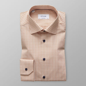 Eton- Rust checked dress shirt with navy buttons