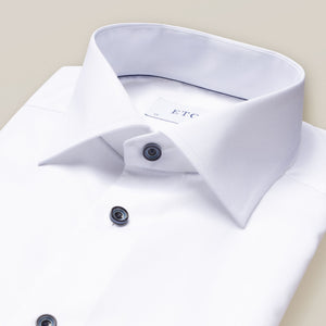 Eton- White signature twill dress shirt with navy buttons