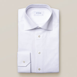 Eton- Textured solid, white dress shirt