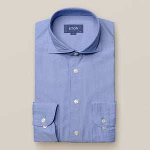 Eton- Casual, washed blue solid shirt