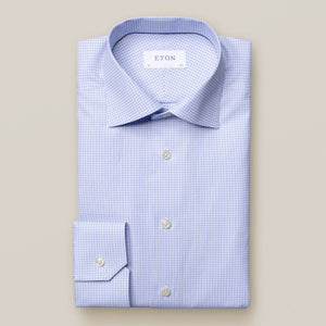 Eton- blue geometrical printed dress shirt