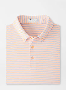 PETER MILLAR- Gravy Performance Jersey Polo- White/ Orange Nectar
