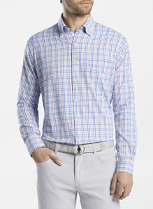 PETER MILLAR- Howard Performance Sport Shirt- Purple/ Blue