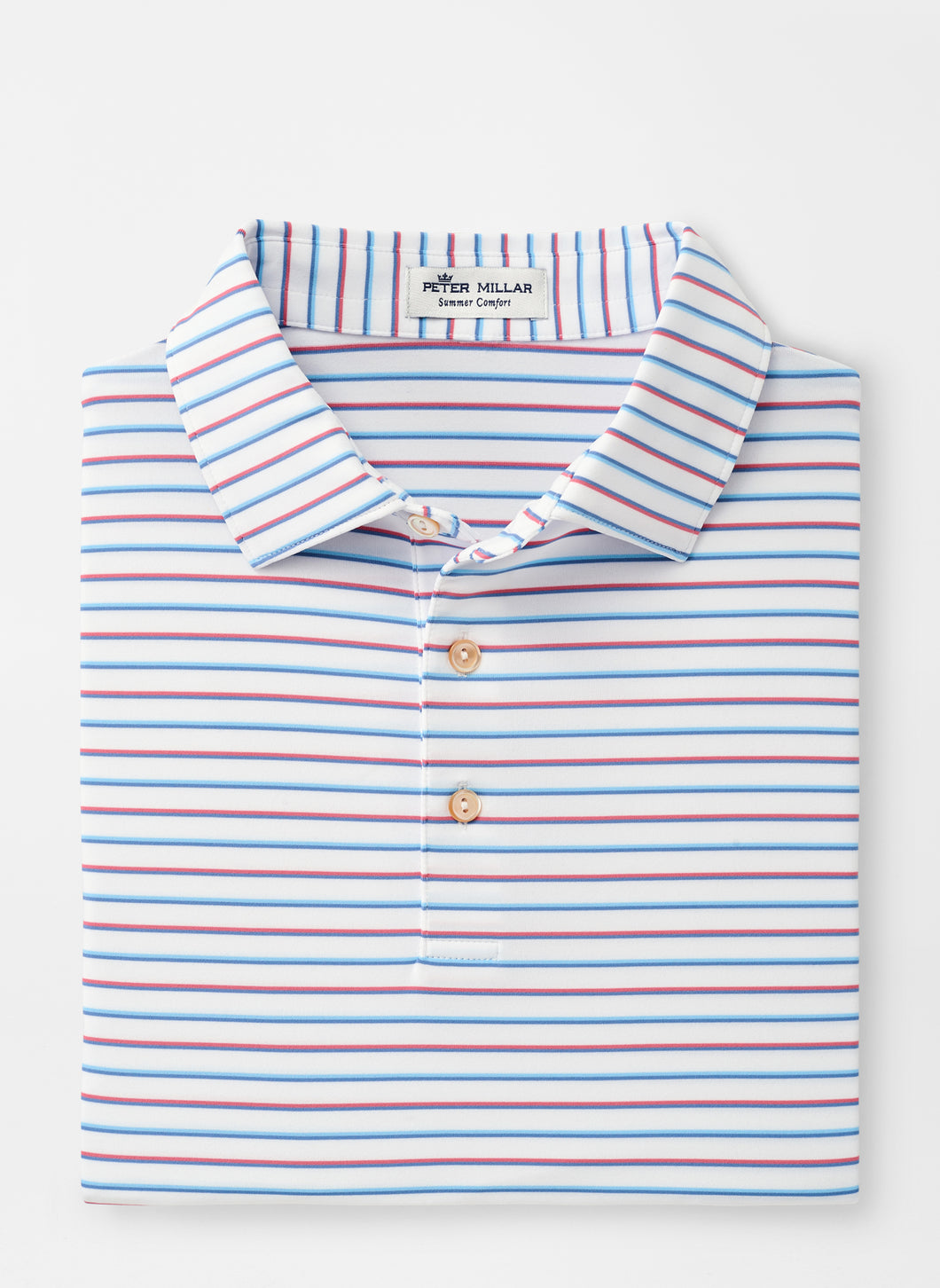 Peter Millar- performance polo- red/ blue stripe