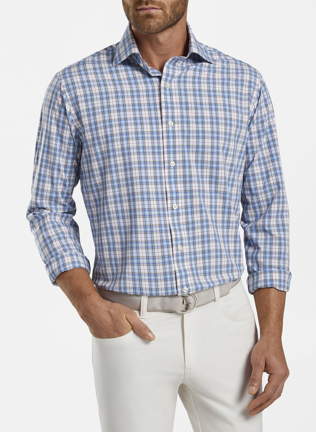 PETER MILLAR- Peterson Performance Poplin Sport Shirt- Crown Crafted