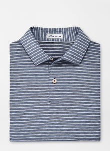 Peter Millar- performance polo- navy/grey stripe