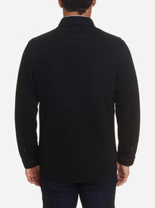 Robert Graham- LYONS- Knit Shirt Jacket With Stretch- Black