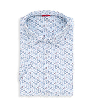 Load image into Gallery viewer, Stone Rose- Light Blue Geometric Performance Knit Short Sleeve Shirt