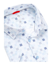 Load image into Gallery viewer, Stone Rose- short sleeve, white and blue geometrical print, knit shirt