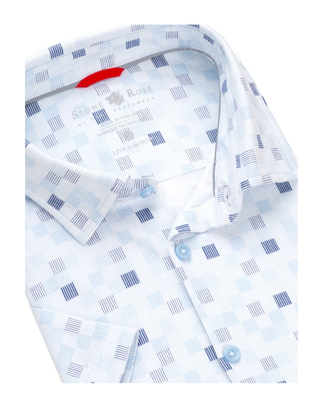 Stone Rose- short sleeve, white and blue geometrical print, knit shirt