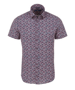 Stone Rose- Pink Geometric Print Short Sleeve Shirt