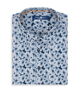 Stoner Rose- Navy Floral Print Short Sleeve Shirt