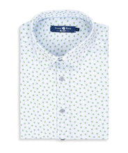 Load image into Gallery viewer, Stone Rose-Light Blue Floral Knit Short Sleeve Shirt