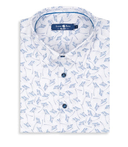 Stone Rose- White with blue floral print shirt