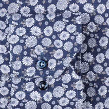 Load image into Gallery viewer, STENSTROMS- Navy and Silver Floral Printed Shirt- Fitted Body