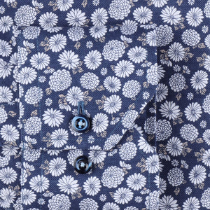 STENSTROMS- Navy and Silver Floral Printed Shirt- Fitted Body