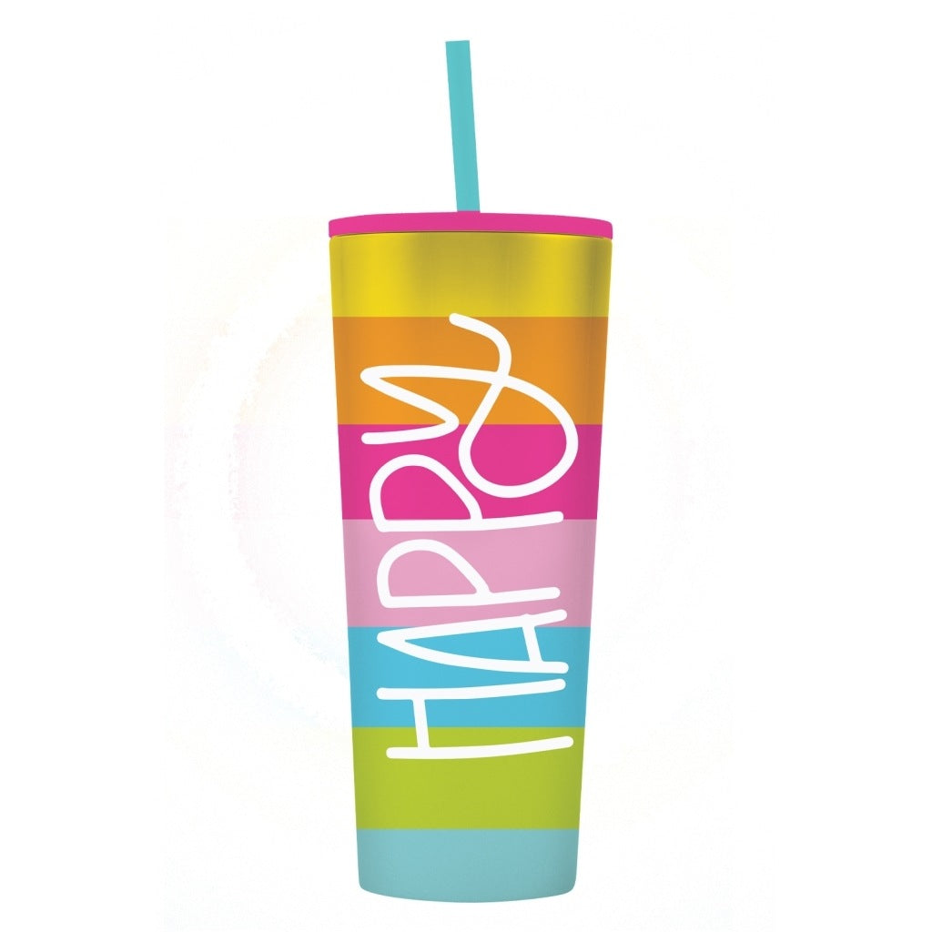 Happy Rainbow Straw Tumbler