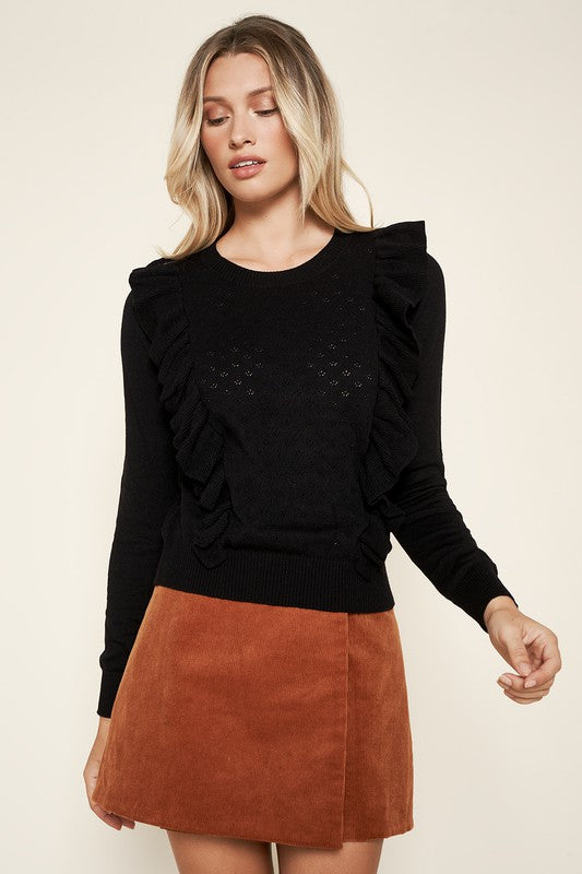Ruffled Pointelle Sweater
