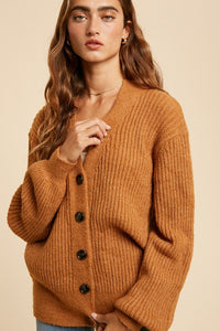 Rust Button Down Cardigan