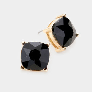 Black Square Stone Stud