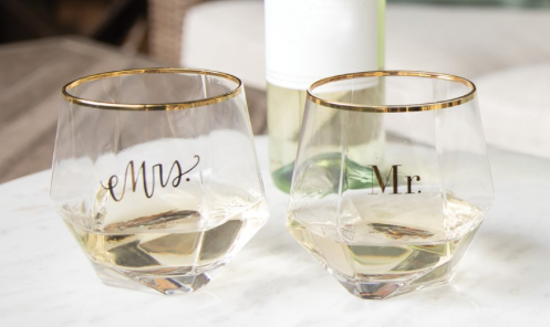 Mr. & Mrs. Stemless Wine Glass Set