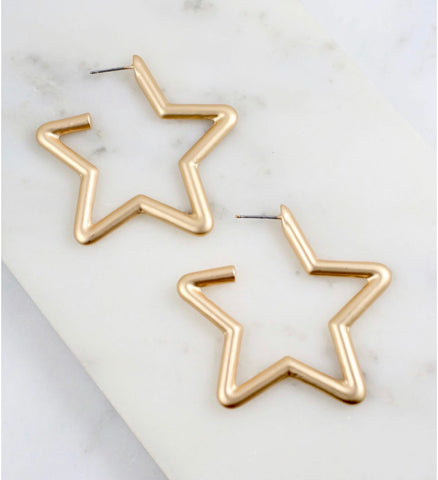 Earrings - Dewell Metar Star Matte Gold