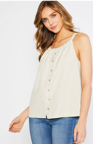 Blouse - linen gather detail halter tank, natural