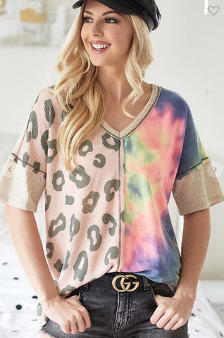 Blouse - BiBi thermal waffle v-neck with print block front, animal/tie dye