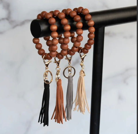 Accessories/Gifts - Wood Beaded Bracelet Keyring  with Tassel