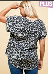 Blouse - Plus Size Animal Print Short Cuff Sleeve Tunic, black/gray