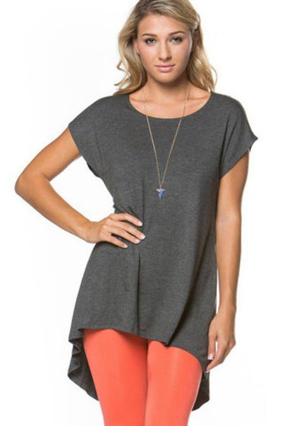 Blouse - Cap Sleeve High Low Tunic, Charcoal