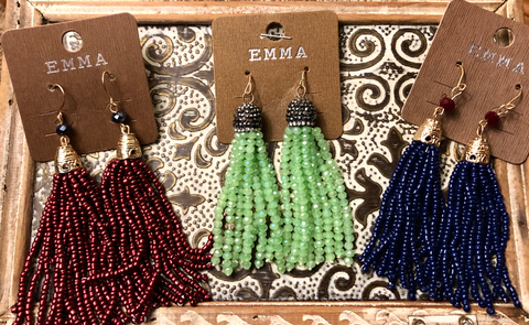 Earrings - beaded tassel