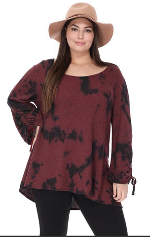 Blouse - Tie Dye Shirring, Burgundy/Black, Plus Size