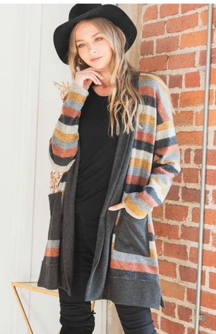Outerwear - Multi Color Stripe, Curvy Size