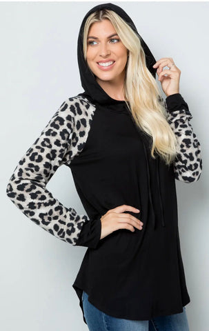 Blouse - Plus size Leopard print long sleeve with hoodie, black